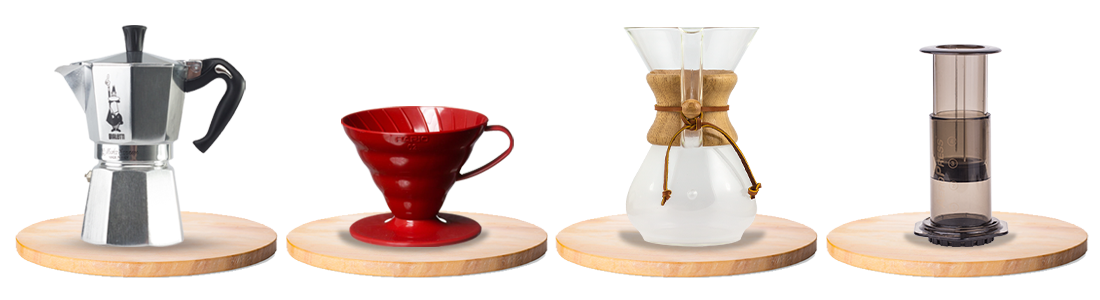 kawiarki Bialetti, zaparzacze przelewowe Hario Dripper i Chemex, zaparzacz tłokowy Aeropres